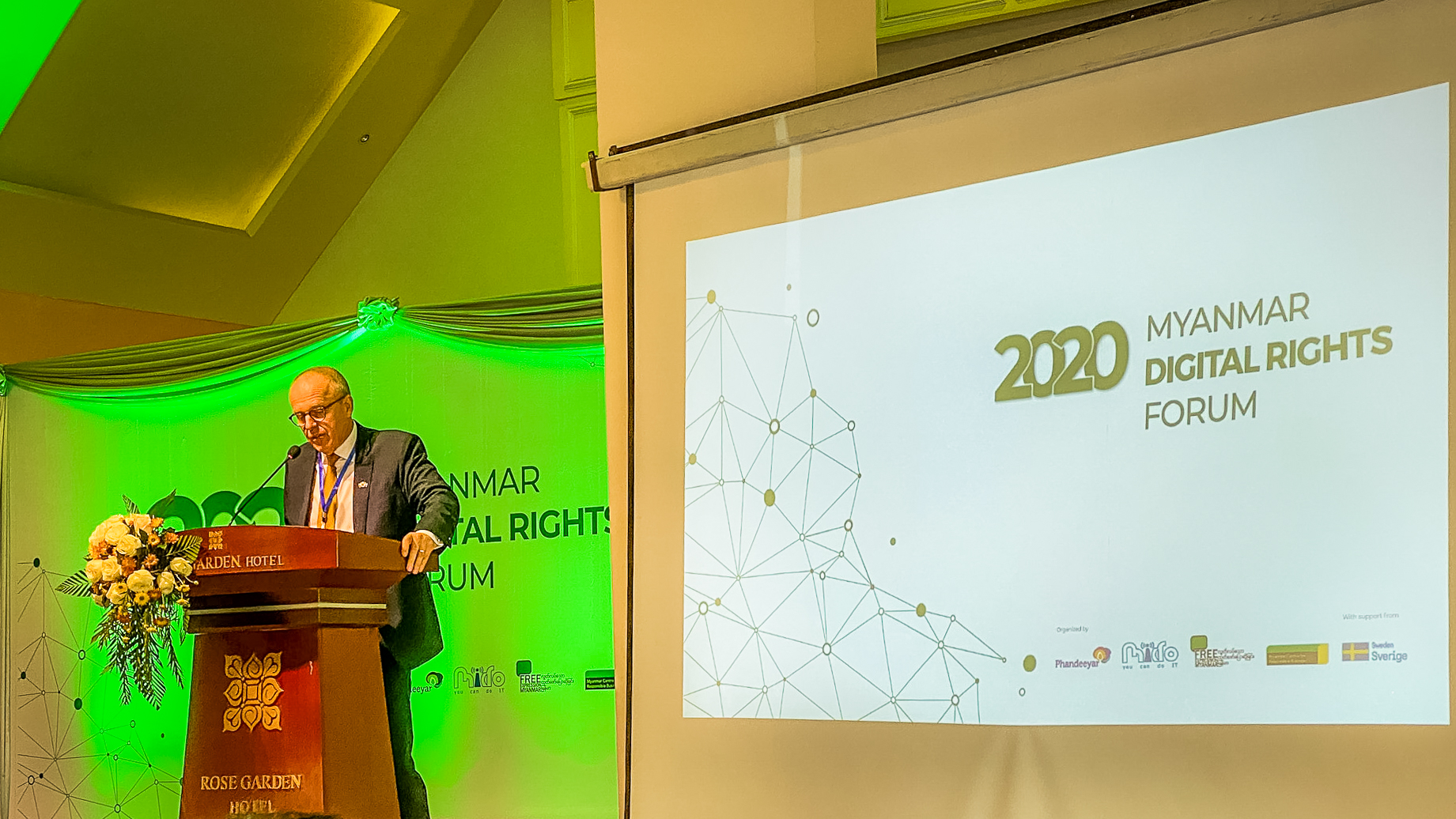 Ambassador of Sweden to Thailand, Myanmar, and Laos PDR Staffan Herrstrom shares in his keynote speech that he is excited to listen and learn more about digital rights in the region at the fourth Myanmar Digital Rights Forum in Yangon.