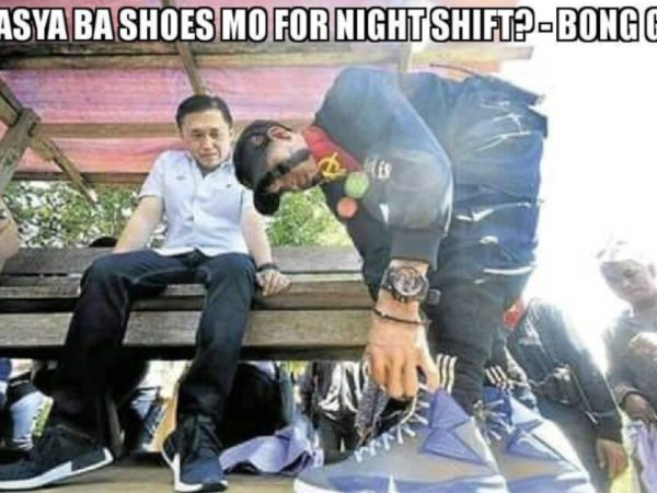 English: Will your shoes fit for the night shift? - Bong Go
